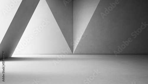 Abstract interior design of modern showroom with empty white concrete floor and gray wall background - 3d rendering