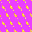 canvas print picture - Seamless lightning bolt pattern against pink background. 3d render picture.