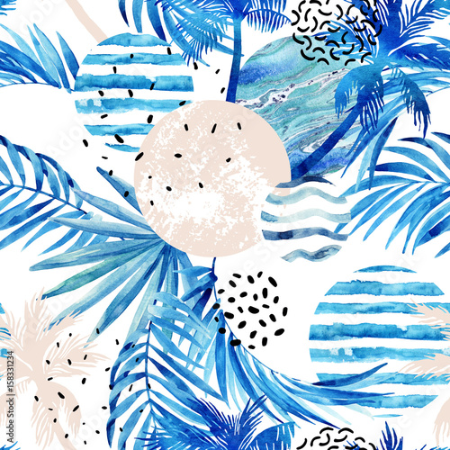 Photo sur Toile Empreintes Graphiques Abstract summer tropical palm trees and leaves background.