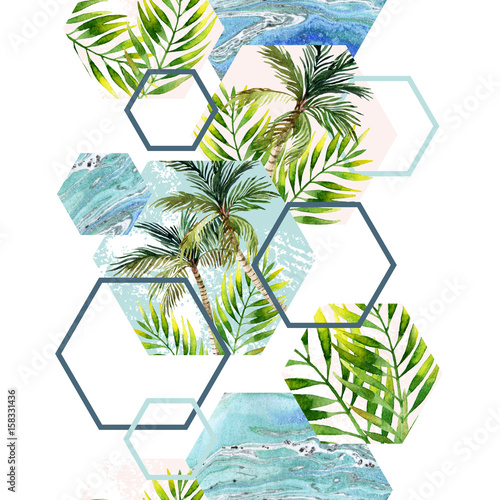 Foto auf Gartenposter Grafik Druck Watercolor tropical leaves and palm trees in geometric shapes seamless pattern