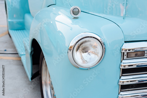 Headlight of old car Canvas Print