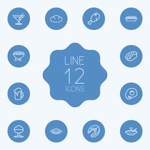Set Of 12 Eat Outline Icons Se...