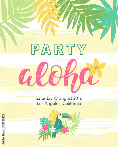 Photo Tropical beach party banner template