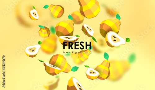 Creative background with low poly fruit. Illustration with polygonal pear. - 158340670