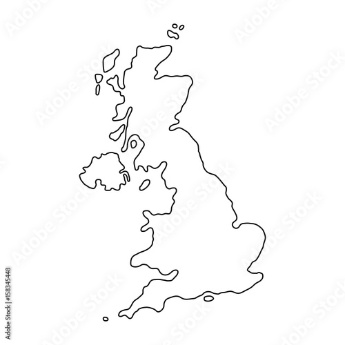 Stampa su Tela The United Kingdom of Great Britain and Northern Ireland map of black contour cu