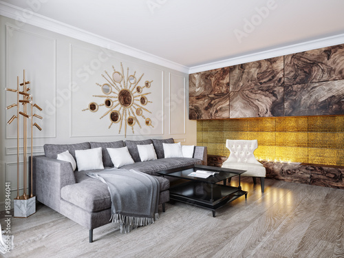 Modern Classic Beige Gray Living Room Interior Design With