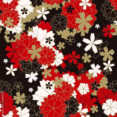 japonski-klasyczny-kwiatowy-wzor-tradycyjne-kimono-tkaniny-azjatycki-swiateczny-projekt-z-wiosennych-kwiatow-w-kwiat-ilustracji-wektorowych-czerwony-czarny-bialy-zlote-elementy-orientalne-tlo