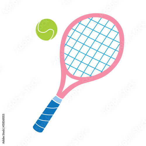 Plakát  Pink tennis racket and ball vector icon.
