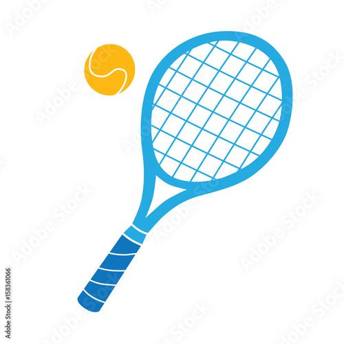 Obraz na plátně  Blue tennis racket and ball vector icon