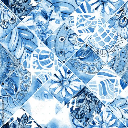 monochromatyczne-powielane-tekstury-z-niebieskim-ludowym-wzorem-patchwork-malarstwo-akwarelowe