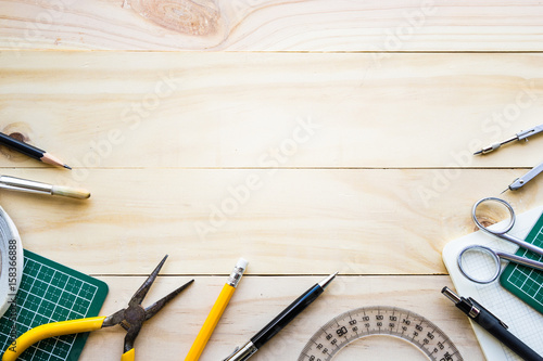 Top view of wood table with elements of tools,equipment Wallpaper Mural
