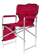 Blue Folding Camp Chair Isolated On White Background.