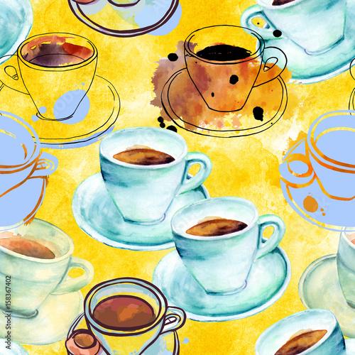 jednolite-wzor-akwarela-i-atrament-kawy-na-zolty