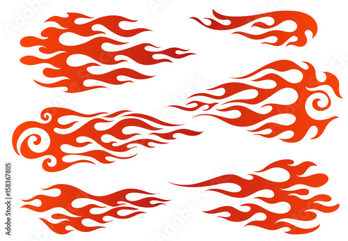 Red to orange gradient flame elements