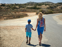 Mom And Son Walking Along The ...