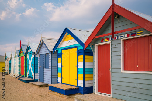 Poster Oceania Colorful Beach House at Brighton Beach, Melbourne