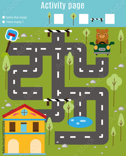 Poster de jardin Route Activity page for kids. Educational game. Maze and find objects theme. Help bear find home. For preschool years children