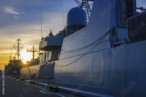 Szczecin, Poland-June 2017:NATO warships in exercises BALTOPS 17 in Szczecin, Po Canvas Print
