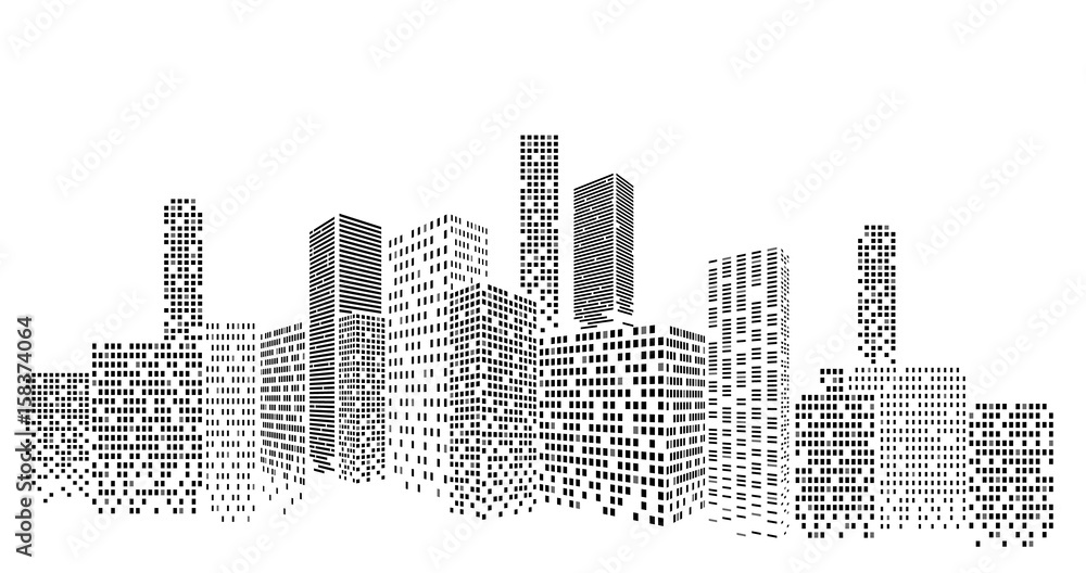 Fototapeta Modern cityscape vector illustration. City buildings perspective