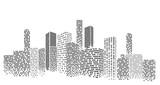 Ilustracja wektorowa nowoczesny gród. Perspektywa zabudowy miasta