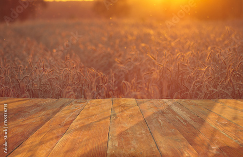Obraz wooden table with field with ripe corn ears of corn - fototapety do salonu