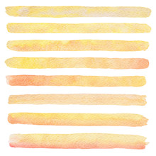 Hand Drawn Watercolor Orange And Yellow Texture Strokes Isolated On The White Background