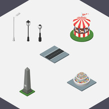 Isometric Architecture Set Of Street Lanterns, Carousel, Dc Memorial And Other Vector Objects. Also Includes Horses, Way, Washington Elements.