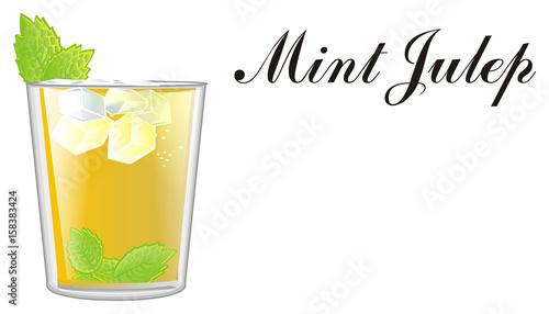 Valokuvatapetti mint julep, ice, words, Mint, julep, yellow, alcohol, glass, cocktail, cartoon,