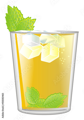 Mint, julep, yellow, alcohol, glass, cocktail, cartoon, summer, cold, color, mi Canvas-taulu