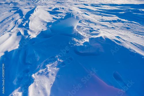 Foto op Aluminium Fantasie Landschap Camp Barneo at the north pole snow plain snow cube pattern snowflakes lines close-up