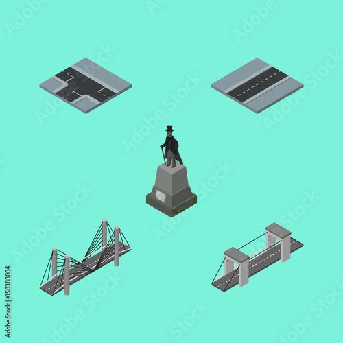 In de dag Groene koraal Isometric City Set Of Crossroad, Bridge, Sculpture And Other Vector Objects. Also Includes Bridge, Road, Crossroad Elements.