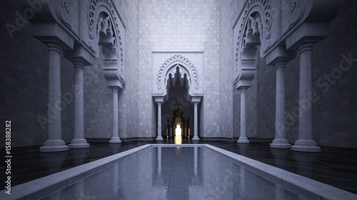 Recess Fitting Temple 3d rendering image of modern islamic style