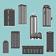 Building and skyscrapers silhouette vector set