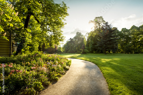 Fotografiet Panorama of city park with footpath and flowers