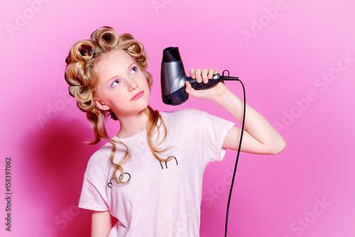 curling blonde hair