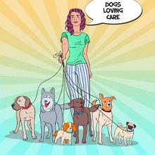Pop Art Pretty Woman Dog Walker. Vector Illustration
