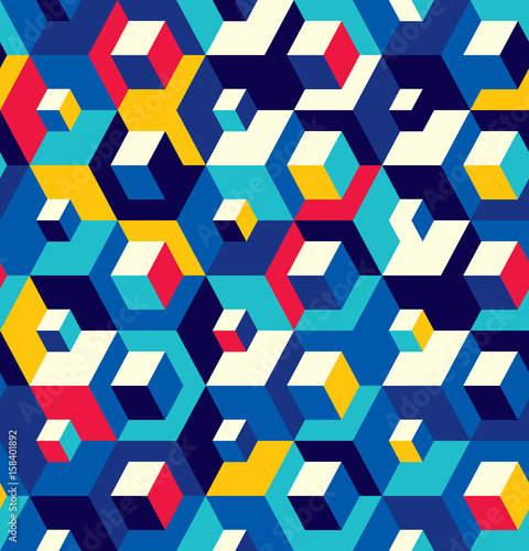 Fototapeta Abstract seamless surround pattern of cubes Optical effects