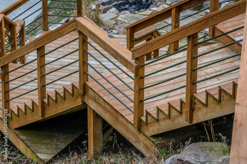 zigzag pattern of wood steps on outdoor deck