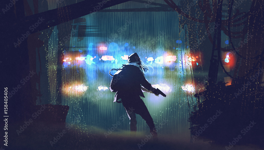Fototapeta scene of the thief with the gun being caught by police car light at rainy night with digital art style, illustration painting