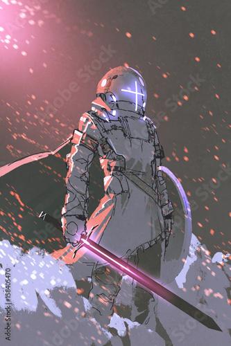 postać science fiction futurystycznego rycerza ze świecącym mieczem i tarczą, styl sztuki cyfrowej, malarstwo ilustracyjne