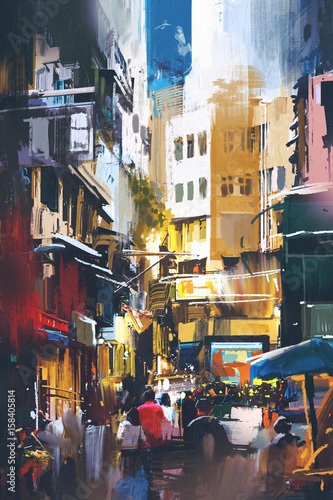 people-walking-in-city-street-with-digital-art-style-illustration-painting