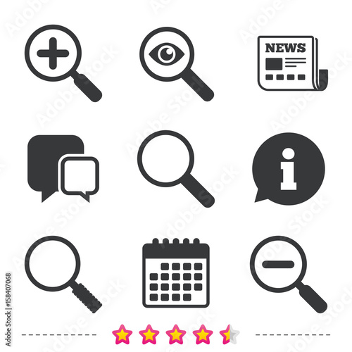 Magnifier glass icons  Plus and minus zoom tool  - Buy this