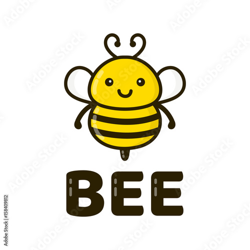 a9159666be69 Fun cute happy smiling bee. Vector modern style flat line character ...