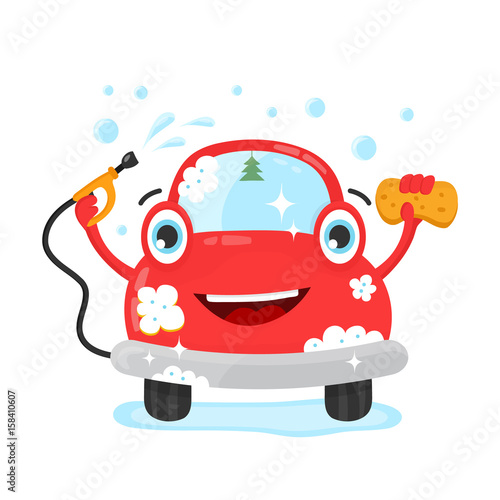 Staande foto Cartoon cars Happy cute fun clear car with hose and washcloth. Vector flat modern style illustration character icon design. Isolated on white background. Car wash services, auto cleaning, self-service concept