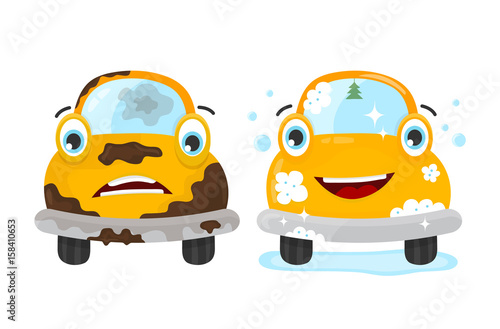 Poster de jardin Cartoon voitures Dirty and clean car set. Vector flat modern style illustration character icon design. Isolated on white background. Car wash services, auto cleaning concept