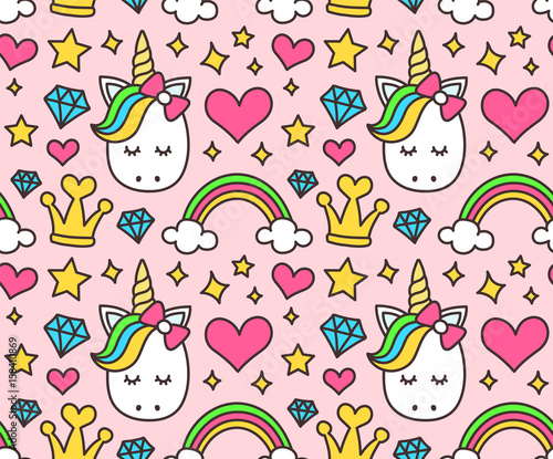 Fotomural Cute unicorn, princess concept, girl beauty seamless pattern isolated on pink background