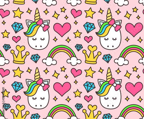 Śliczna jednorożec, princess pojęcie, dziewczyny piękna bezszwowy wzór odizolowywający na różowym tle. Wektor kreskówka. Magia, baśń, serce, tęcza, korona, gwiazdy, diament