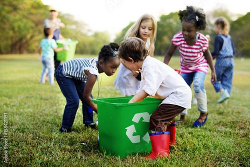 Group of kids school volunteer charity environment - fototapety na wymiar