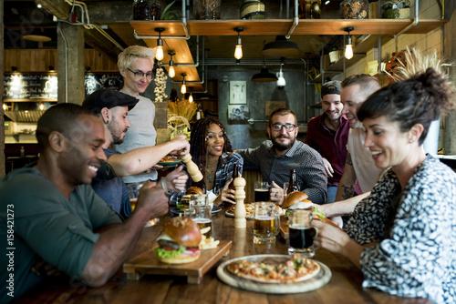 Fotografie, Obraz  Diverse People Hang Out Pub Friendship