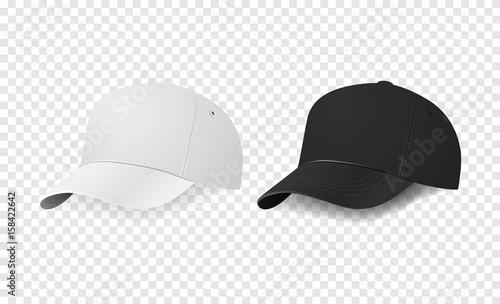 Valokuva  White and black baseball cap icon set